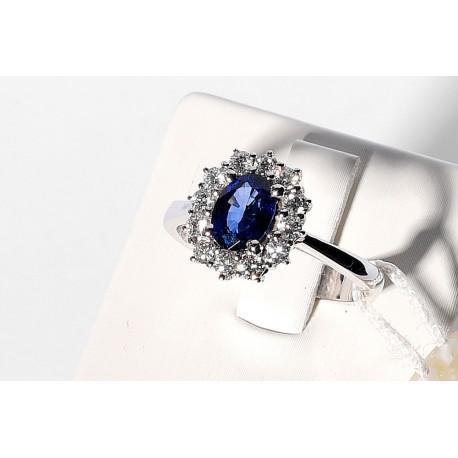 Anello in Zaffiro blu e diamanti